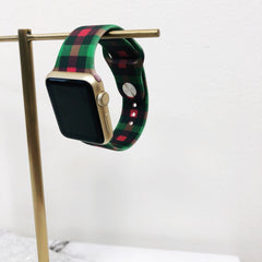 Christmas Plaid Silicone Watch Band
