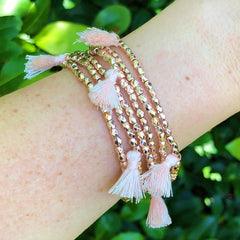 Rose Gold Tassel Beaded Bracelet by Prep Obsessed