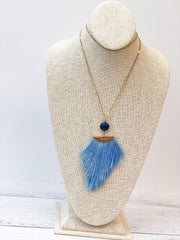 Fringe Stone Statement Necklace - Blue