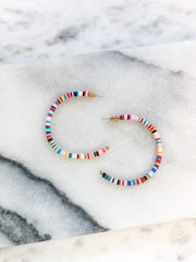 Milo Flat Beaded Multi Color Hoops