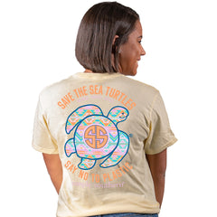 Youth 'Say No To Plastic' Aztec Sea Turtle Short Sleeve by Simply Southern (Ships in 2-3 Weeks)
