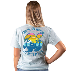 Youth 'Say No To Plastic' Sunset Sea Turtle Short Sleeve by Simply Southern (Ships in 2-3 Weeks)