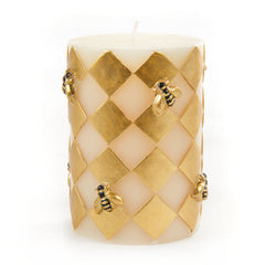 Harlequin Bee Pillar Candle - Gold