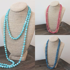 Riley Semi Precious Long Beaded Necklace - Choice of Color