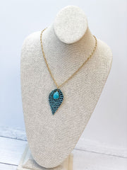 Long Snakeskin Print Pendant Necklace - Turquoise