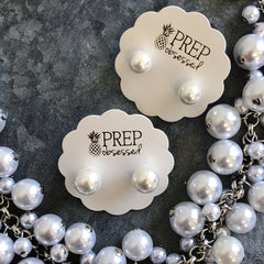 Classic White Pearl Stud Earrings by Prep Obsessed