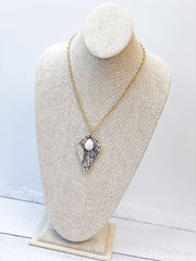 Long Snakeskin Print Pendant Necklace - Marble