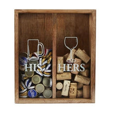 His & Hers Wine Cork & Bottle Cap Display Box by Mud Pie