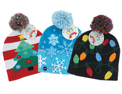 'Lotsa Lites' Flashing Holiday Knitted Hat - Choice of Style