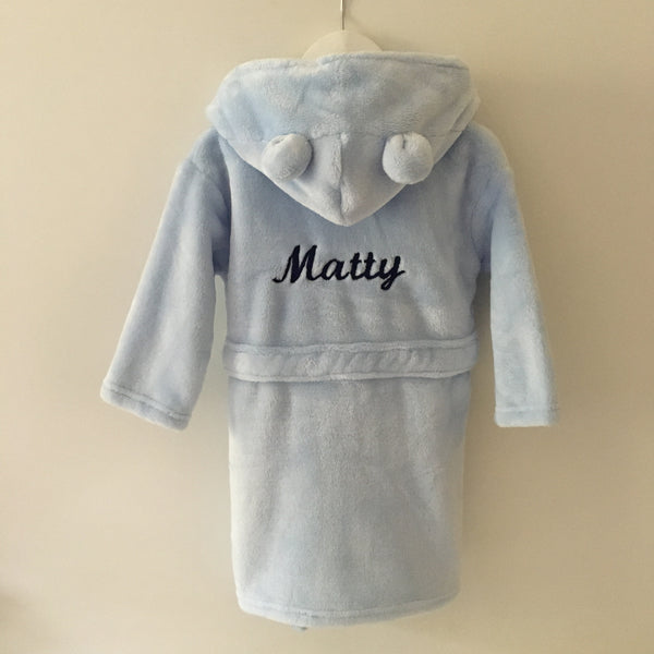 Blue Super Soft Personalised Dressing Gown