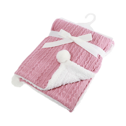 Personalised Knitted PomPom Blanket