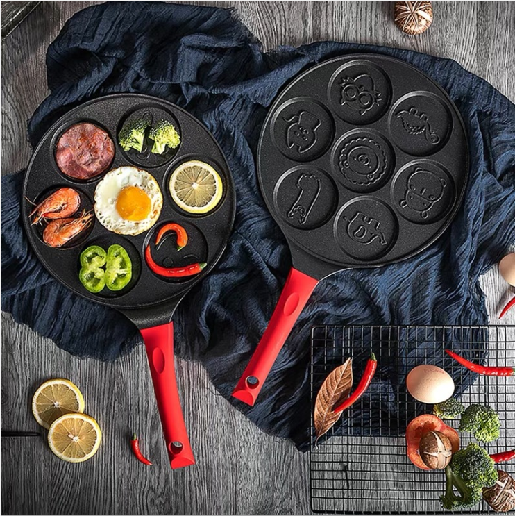 (SAVE 30$&FREE SHIPPING)Fun 7 Emoji Mini Pancake and Flapjack Maker -Double Layer Nonstick Coatining
