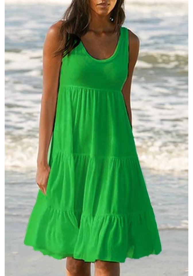 PANELED SOLID SLEEVELESS BEACH MIDI DRESS