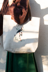 Corn crake - illustrated artisanal tote