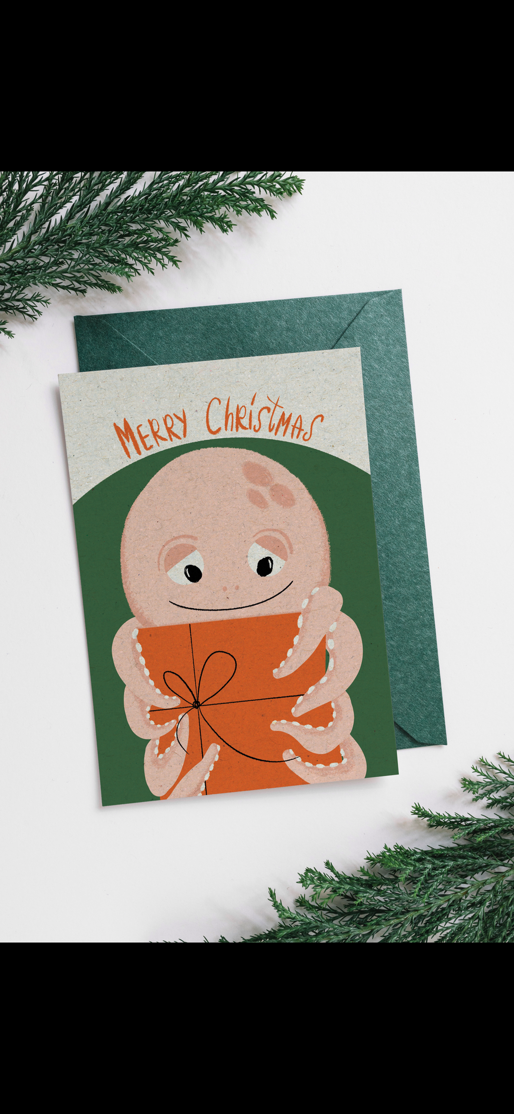 Christmas octopus postcard
