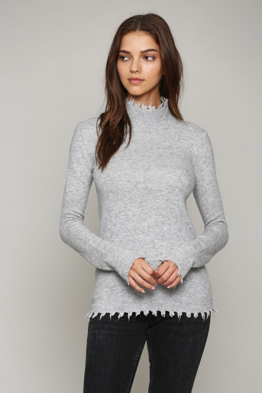 Distressed Hem Mock Neck Sweater