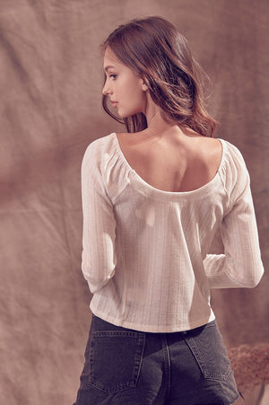 Notched V-Neck L/S Top