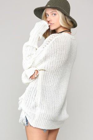 L/S KNIT SWEATER WITH FRINGE