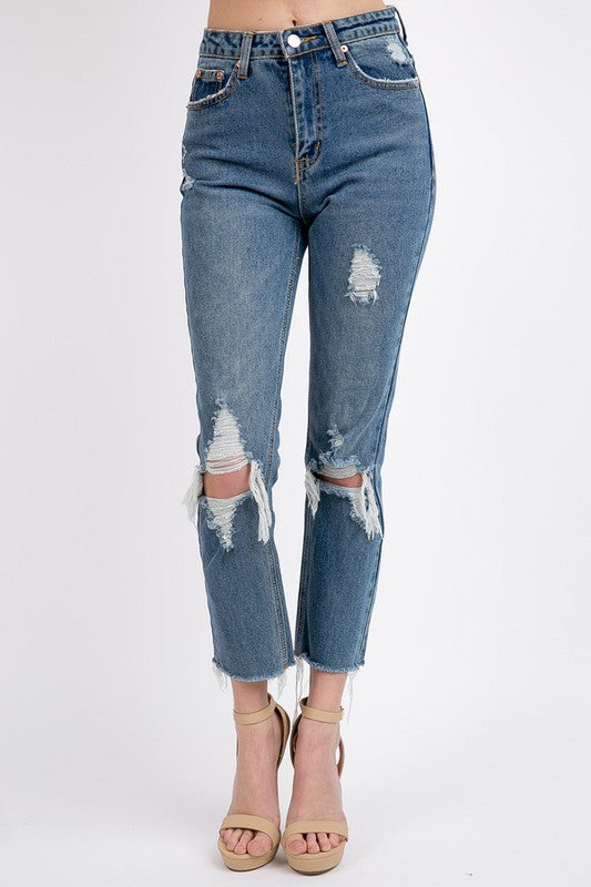Sig8 - High Rise Distressed Jeans