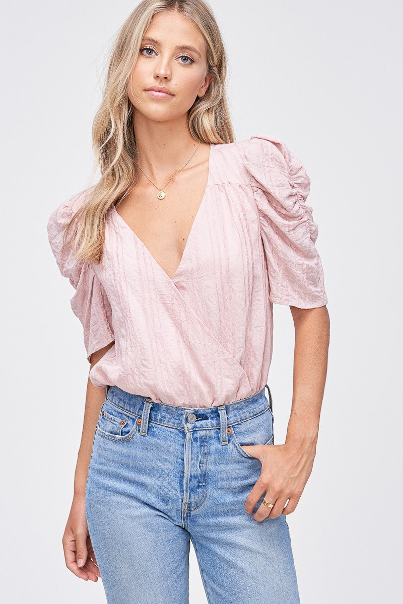 Pink Short Sleeve V-Neck Bodysuit