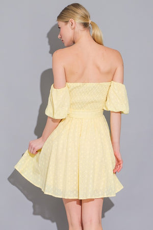 Off the Shoulder Eyelet Mini Dress