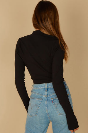 Cropped 1/2 Zip Mock Neck Top