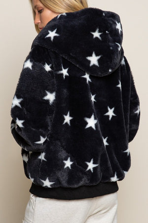 L/S FUZZY HOODIE WITH STARS