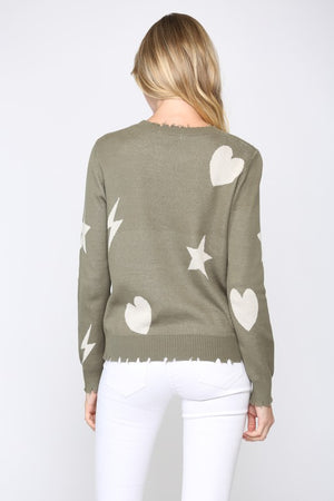 STAR HEART DISTRESSED SWEATER