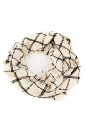 Black & White Plaid Blanket Scarf