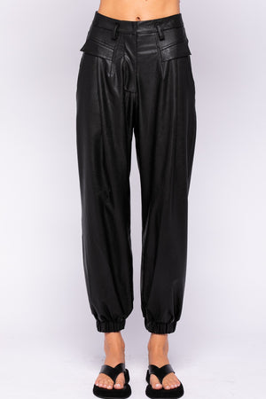 Faux Leather Jogger Pants with Pockets