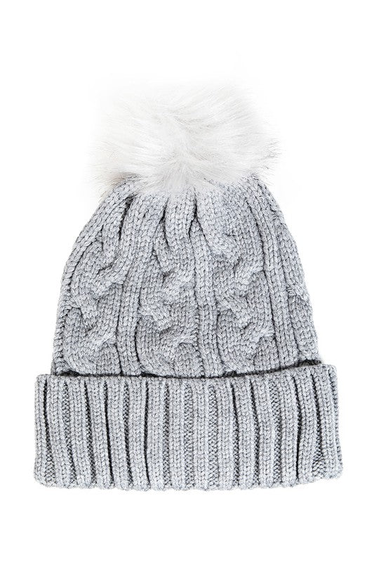 Knit Beanie With Fur Pom Pom