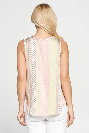 V-Neck Printed Sleeveless Blouse