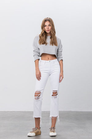 Denim Lounge - Straight Leg Distressed Jeans