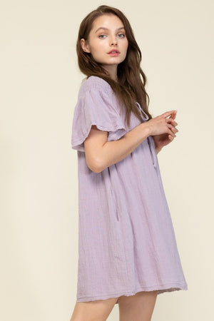Short Sleeve Ruffle Sleeve Dress