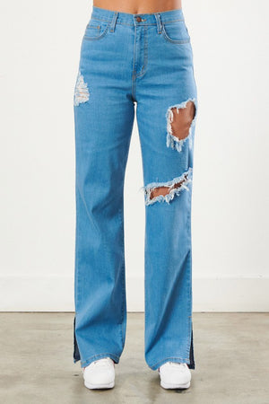 Vibrant - Distressed Straight Leg Split Hem Jeans