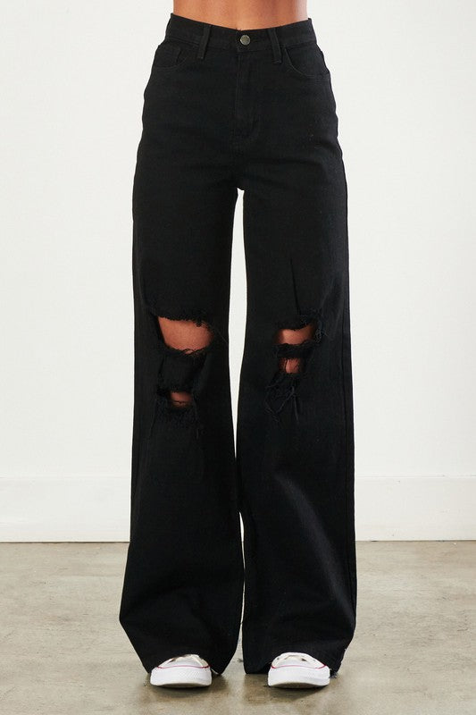 High Rise Distressed Wide Leg Jeans
