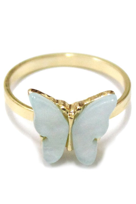Mint Green Butterfly Ring