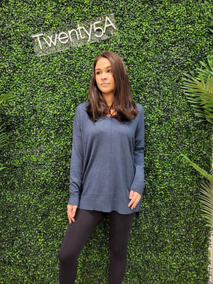 L/S V-NECK SWEATER WITH SEAM