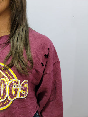 Re/Worked Vintage Distressed Sweatshirt - Bulldogs