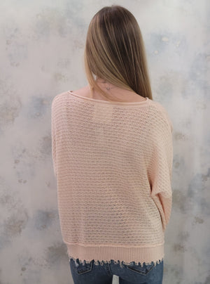 Knit Sweater w/ Frayed Edges