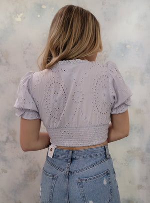 Eyelet Puff Sleeve Crop Top