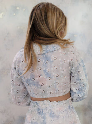 Long Sleeve Eyelet Front Tie Top