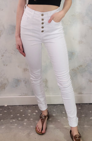 White Button Fly Skinny Jeans