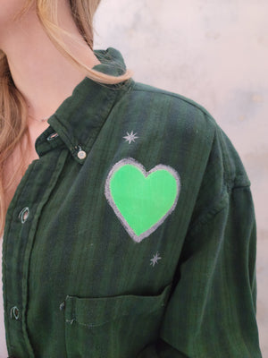 Re/Worked Vintage Distressed Flannel - Neon Heart