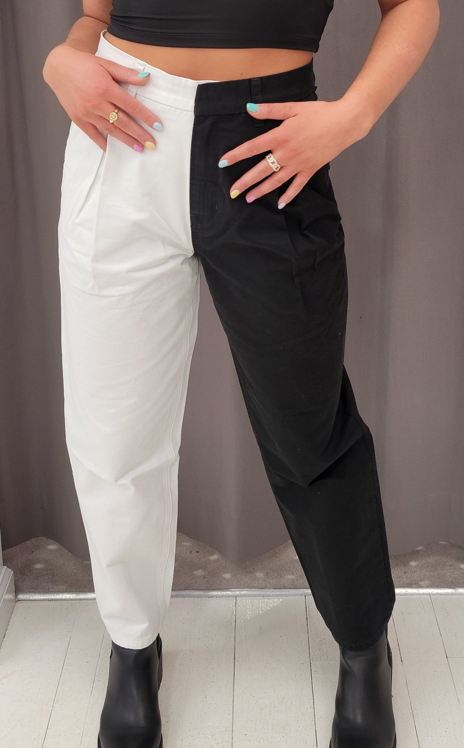 Blue Revival - Black/White Straight Leg Pants