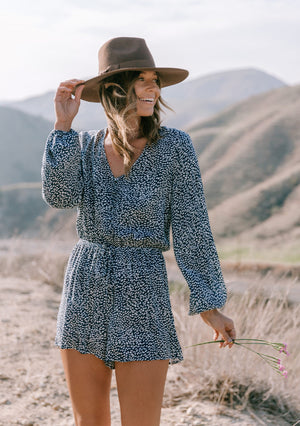Long Sleeve V-Neck Romper