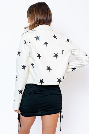 STAR LEATHER BIKER JACKET