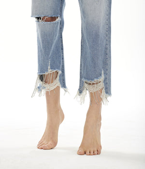 Blue Revival - Straight Crop Jean w/ Chain Detail