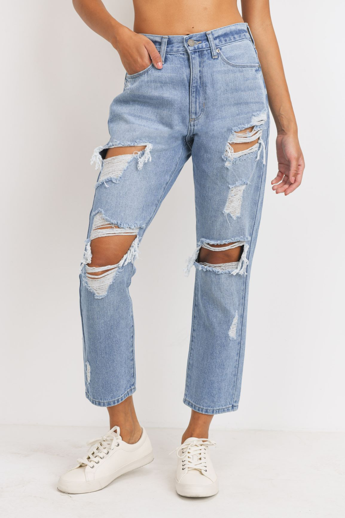 Just Black - Distressed Girlfriend Jeans