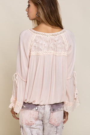 Long Sleeve Crochet Accent Blouse